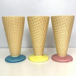 Vintage Ceramic Ice Cream Cone Desert Dish Set 3